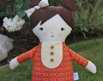 SALE Big Sister Sprinkles Brown Hair Handmade Rag Doll (orange geometric print)