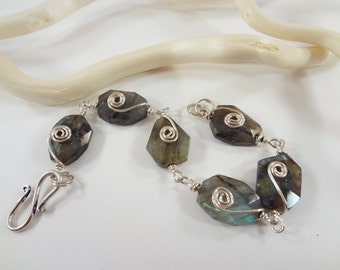 7 inch Labradorite and Sterling Silver wrapped Metalwork Bracelet
