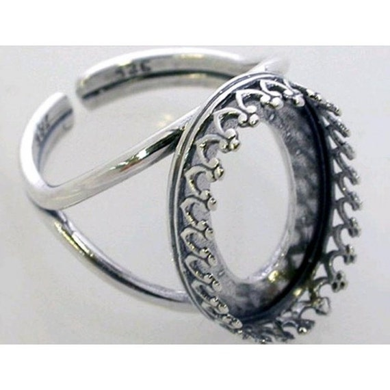 Oval 18x13mm Ring Bezel Cups for Setting Antique (Oxidized) Sterling Silver 925 (8335)