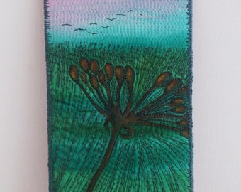 Embroidered Textile Art - Sunset Shadows I