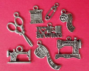 8 Assorted Sewing Theme Charms