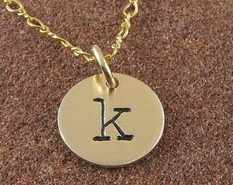 Initial Necklace, Lowercase 14K Gold Filled Monogram Initial Pendant with 14K Gold Filled Chain