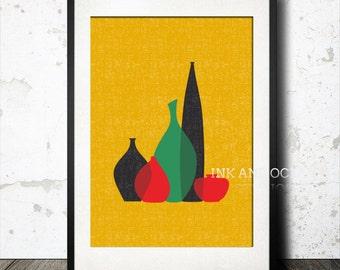 Stunning Mid century modern vintage vase print download printable art