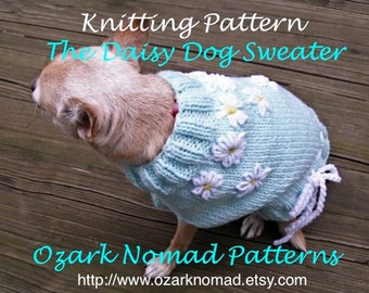 Immediate Download - PDF Knitting Pattern for The Daisy Dog Sweater