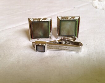 1950's Swank Silver and Grey Cufflinks and Tie Bar Set