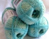 Boutique Infinity yarn in SEAFOAM, shades of aqua green blue bulky weight yarn, Red Heart Boutique,  metallic