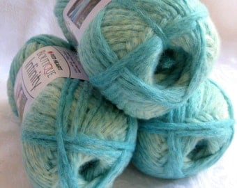 Boutique Infinity yarn in SEAFOAM, shades of aqua green blue bulky weight yarn, Red Heart Boutique,  metallic