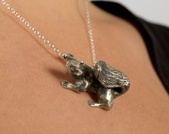 Squirrel Necklace - Squirrel Jewelry - Silver Squirrel Necklace - Wildlife Necklace - Squirrel Charm - Profits to Charity - Animal Necklace