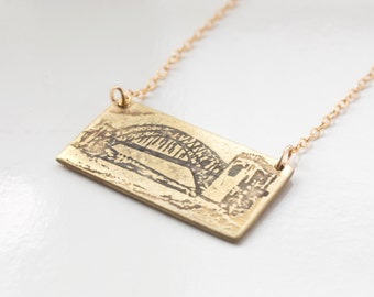 New York City Jewelry - Queens Necklace - NYC Necklace - NY Pendant - Queens Jewelry - Hellgate Bridge - Astoria Gift - Urban Landscape