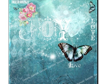 Dream Joy Live Love - Design Paper  -  Collage Sheet - Printable Download - Gift Tags - Scrapbook - Instant Download