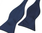 Mens Bowtie. Freestyle Navy Blue Bowties. Navy Blue Self Tie Bow tie With Matching Pocket Square Option