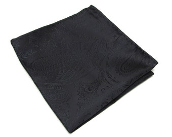 Pocket Square Silk Black Paisley Hankie
