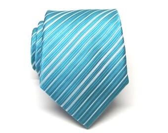 Mens Tie. Turquoise Silver Stripes Mens Ties