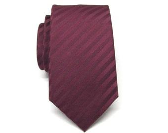 Mens Tie. Skinny Tie. Burgundy Skinny Necktie