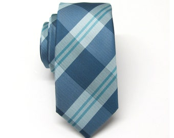 Mens Tie. Blue and Teal Stripes Skinny Tie With Matching Pocket Square Option