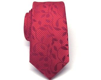 Mens Tie. Red Floral Vine Skinny Tie