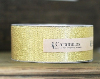 Bulk 25 yard roll of Metallic Gold Ribbon 1 1/2""