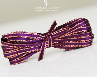 Bulk 50 Yard Roll of Plum Sparkle Satin Twine Ribbon with Gold Edge