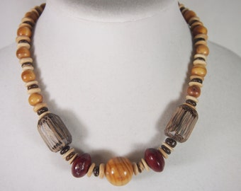 Wood Bead Necklace Vintage 70s Jewelry
