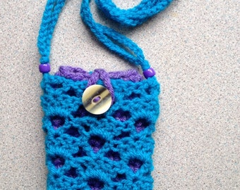 Phone cosy and bag - turquoise and purple