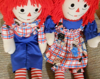 25 inch Traditional Raggedy Ann and Andy Dolls