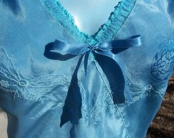 Vintage Antique Blue SILK Vest Curaisse Costume RENN FAIRE