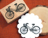 Bike with Basket Rubber Stamp  - Sz Small - Handmade by BlossomStamps