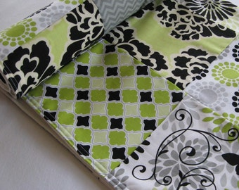 Limelight Butterfly Patchwork Baby Quilted Blanket - Lime Green, Black and White, Citron, Floral, Butterflies, Photography Prop