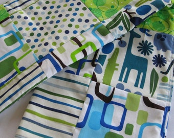 2D Zoo Patchwork Baby Quilted Blanket - Royal Blue, Green, Elephants, Turtles, Polka Dots, Stripes, Animal Nursery