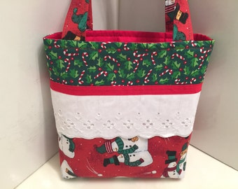 Patchwork Christmas, Gift Tote Bag, Gift Wrap, Wrapping Paper, Fabric and Lace, Snowmen, Quilted Bag, Toy Tote, Toddler Gift Bag