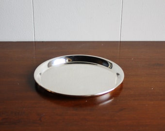 Vintage round silver plated serving  tray
