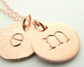Rose Gold Initial Necklace | Letter Charms | Brushed Hammered Shiny | Gold Filled
