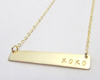 Skinny Name Necklace, Gold Filled Long Bar Pendant, Bar Name Necklace, 14K GF, Custom, Personalized Word, Name, Date, Roman Numerals, Gold