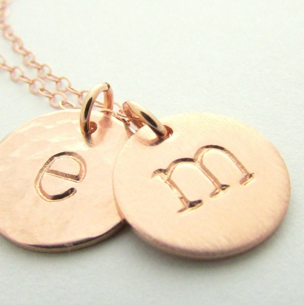 rose gold initial necklace letter charms brushed hammered shiny gold filled