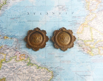 SALE! 2 ornate vintage brass metal pull handles with flower centers