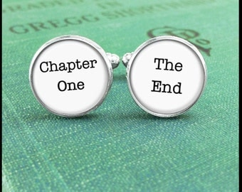 Silver or Brass - Cufflinks - Chapter One The End - Wearable Art- Handmade by Lisa Owens