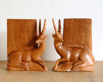 SALE Wooden Antelope Bookends Hand Carved
