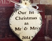 CHRISTMAS ORNAMENT, Mr. and Mrs. Ornament, 2015, Our First Christmas, 3 1/4 x 5