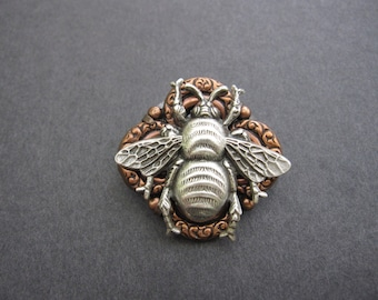 Silver Bee Brooch, Bee Pin, Bumble Bee, Bug Sweater Pin, Shawl Brooch, Nature Inspired, For Her, Woodland Bee, Insect Pin, by Days Long Gone