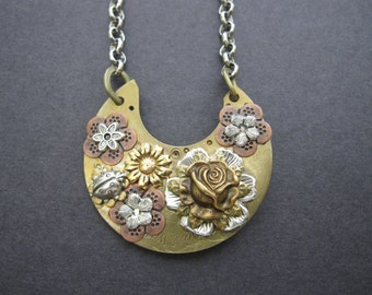 Steampunk Necklace, One of A Kind, Nature Inspired, Unique Bohemian, Floral Pendant, Boho, Ladybug, Woodland Flowers, Victorian, Upcycled