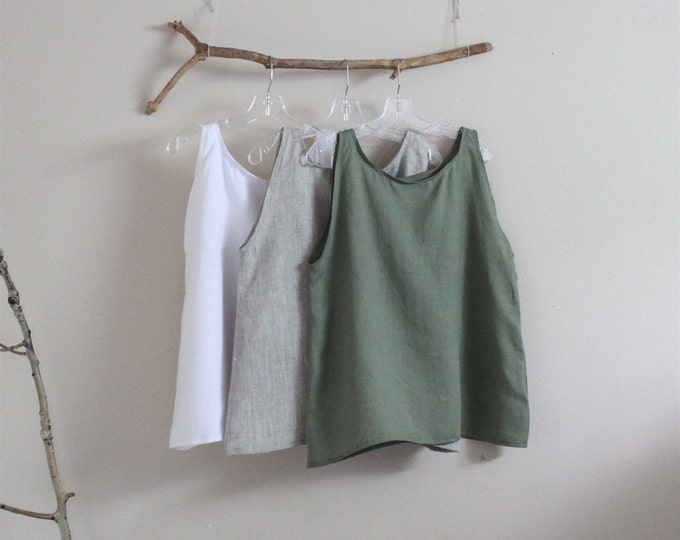 light weight linen camisole top made to order XS to 6XL