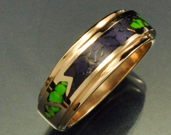 14k Rose Gold Mosaic Inlay Band with Sugilite and Gaspeite