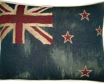 Vintage Style New Zealand Kiwi Flag Woven Tapestry Cushion Pillow Cover