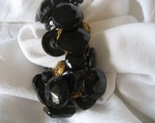 Handmade Vintage Black Glass & Metal Button Jewelry Bracelet