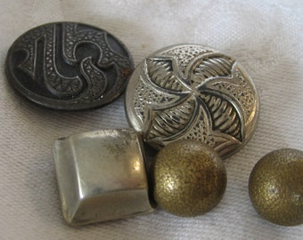 Lot of 5 ANTIQUE Metal BUTTONS