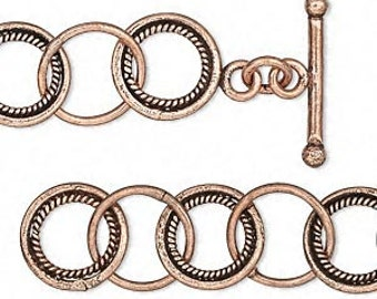 One Antiqued Copper Chain, 13mm twisted round, 7-1/2 inches with toggle clasp.