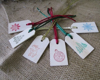 Favor Tags for Christmas Winter Holiday - SET OF 6 Holiday Favor Gift or Bag Tags - Item 1622