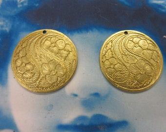 Raw Brass Floral Medallion 1183RAW x2