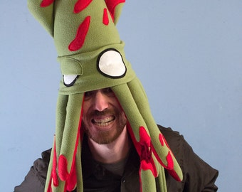 Zombie Squid Hat - Large Fleece Plush
