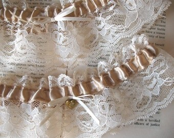 Mon Amour | Bridal Garter Set in Caramel Satin and Ivory Lace with Sweetheart Brass Locket - Handmade Wedding - Ready to Ship